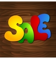 Sale message on wooden background vector image