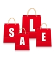 Set of Red Empty Shopping Bags Isolated vector image vector image