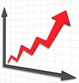 Graph chart red arrow vector image vector image