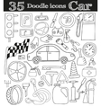 Car and drive Set of 35 doodle icon vector image