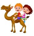 Cartoon Boy and girl riding camel vector image