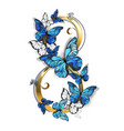 eight of morpho butterflies vector image