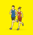 man and woman running together marathon runner vector image