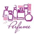 Set of hand drawn perfume bottles vector image