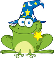 Wizard Frog With A Magic Wand In Mouth vector image vector image