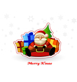 Sitting Santa with presents and Christmas tree vector image vector image