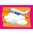 Frame design with airplane and clouds vector image