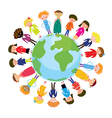 Children on the globe international cartoon vector image