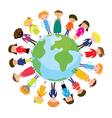 Children on the globe international cartoon vector image