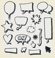 doodle speech bubbles and elements set vector image