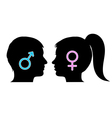 Male and female icons in silhouettes vector image