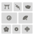 monochrome with chinese New year icons vector image