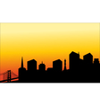 Silhouette of the city and the bridge vector image