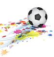 soccer ball and ink splatter background vector image