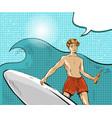 pop art of boy riding on ocean vector image