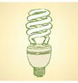 Sketch economic light bulb in vintage style vector image