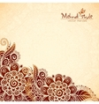 Floral vintage ethnic background in Indian mehndi vector image vector image
