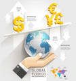 Global business scale Infographics template vector image vector image