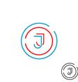 Modern letter J logo monogram outline emblem vector image