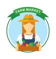 farm market color logo woman vector image