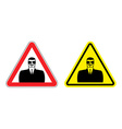 Warning sign of attention to spy Hazard yellow vector image