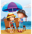 Two kids at the beach near the wooden chairs vector image vector image