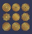 set of gold mandalas indian wedding meditation vector image