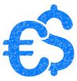 euro and dollar symbols grunge icon vector image