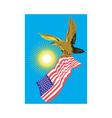 American Bald Eagle Carry Flag Retro vector image