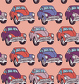 Seamless car pattern Sketch Pink lilac purple vector image