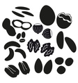 various nuts types black icons set eps10 vector image