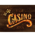 Casino sign wood vector image vector image