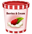berries and cream in cup vector image