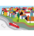 City background with street and car vector image
