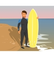Hipster guy wearing diving suit with yellow vector image