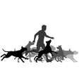 Running with dogs vector image