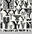 seamless vintage pattern letter Y vector image
