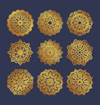 set of gold mandalas indian wedding meditation vector image