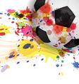 soccer ball ink splash design background vector image vector image