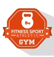 fitness sport athletic gym kettlebell orange badge vector image