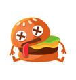 dead burger cute cartoon fast food emoji character vector image
