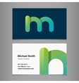 business card letter m vector image vector image