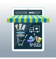 Internet shopping concept smartphone with awning vector image