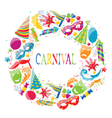 Festive round frame with carnival colorful icons vector image