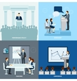 Publicly speaking people 4 flat icons square vector image