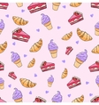 Croissant cake icecream seamless pattern vector image