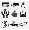 set icons money bank transfers cash vector image