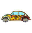 Vintage car in Tangle Patterns vector image