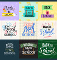 back to school lettering greeting card design text vector image
