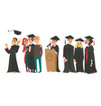 college graduates boys and girl in caps and gowns vector image
